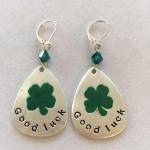 """Good Luck"" earrings with Swarovski crysta…"